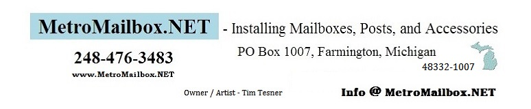 www.MetroMailbox.NET - Installing Mailboxes, Posts, and Accessories - 248-476-3483 - Farmington, MI